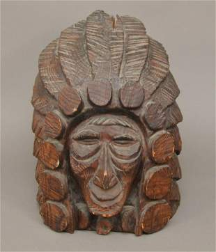 Carved Wood Head in Cigar Store Style, 18w x 21d x 20