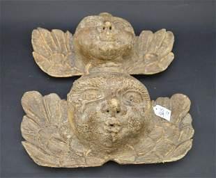 Pair Antique Italian Carved Wood Cherub Heads - Each