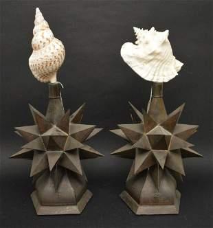 Two Decorative Tin Stars with Seashell - Metal base