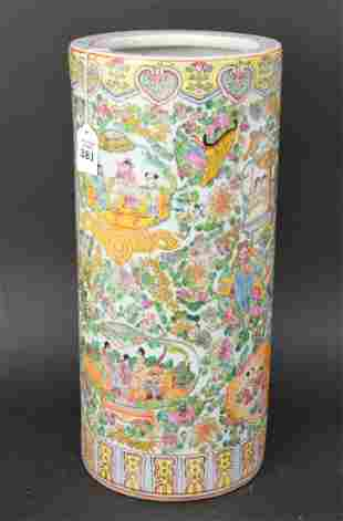 Large Chinese Famille Rose Porcelain Umbrella Stand -