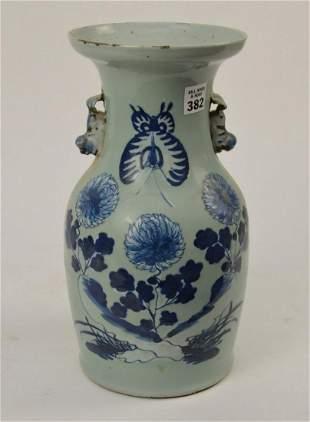 Chinese Blue & Celadon Porcelain Vase - Baluster form