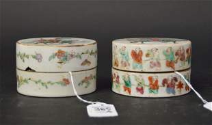 Two Chinese Famille Rose Porcelain Round Boxes -