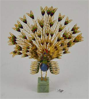 Chinese Gilt Filagree Cloisonne Enamel Peacock Figurine