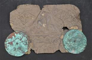 Pre-Columbian Copper and Silver Relief Mask, Origin: