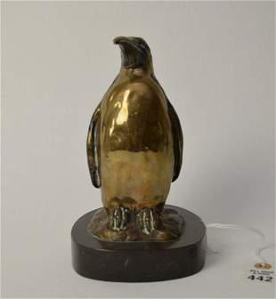 """Carl Wagner """"Emperor"""" Bronze Penguin Figure - 1988"""