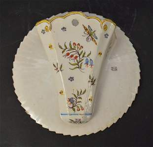 Hand-Painted Faience Porcelain Wall Pocket - signed