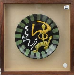 Framed Abstract Modern Figural Artisan Plate - Ceramic