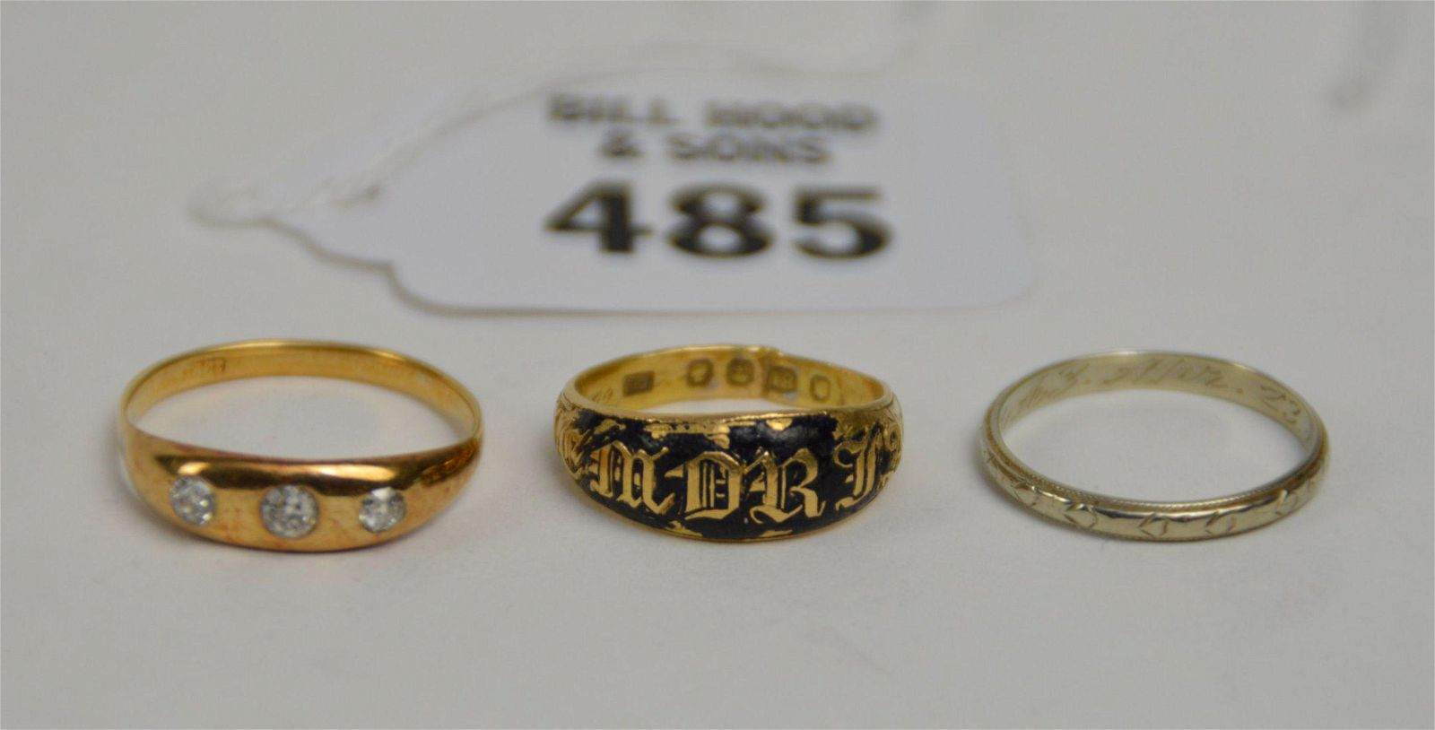 3 - 18K Yellow and White Gold Rings. 18k Yellow gold