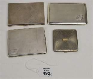 """4 - 800 Silver Cigarette Card & Compact Case. Size 3"""" -"""