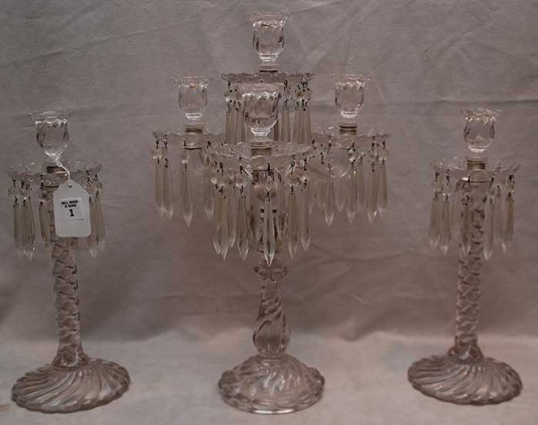 1: 3 pieces of glass; pair of spiral clear glass candle
