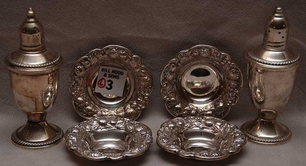 "3: 4 sterling nut dishes, ""925-1000"", and 2 weighted sa"