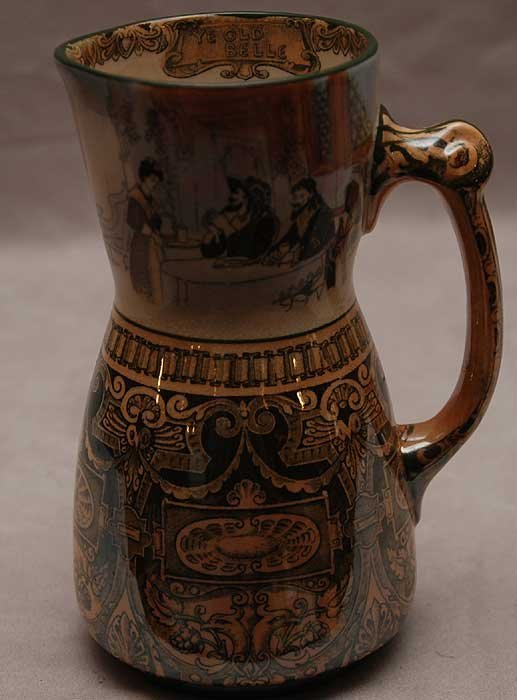 13: Doulton Burlsem pitcher decorated with medieval sce
