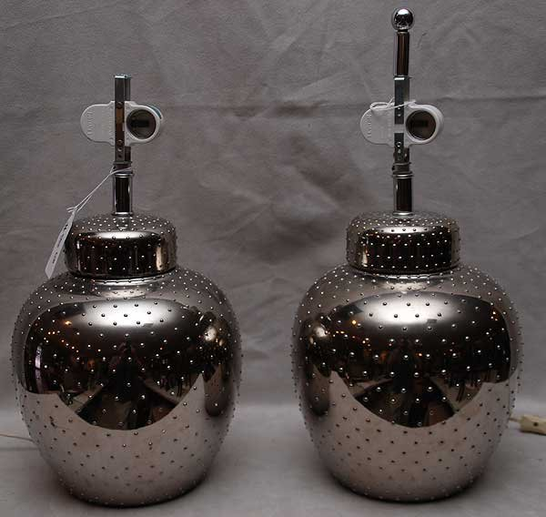 18: Pair of silver colored beaded contemporary lamps,