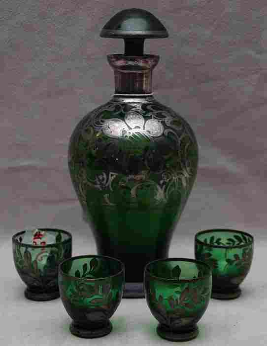 5 piece cordial set, green glass with silver overla