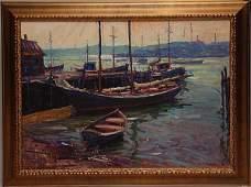 "96: ROBERT C. GRUPPE, American born 1944, ""Boat Docks a"