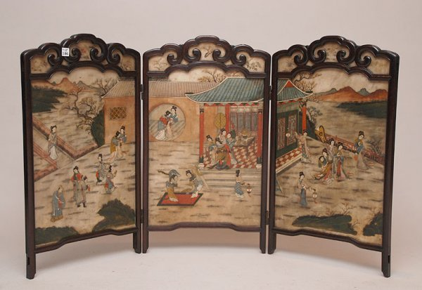 186: 19th century Chinese 3 panel screen, within the 3