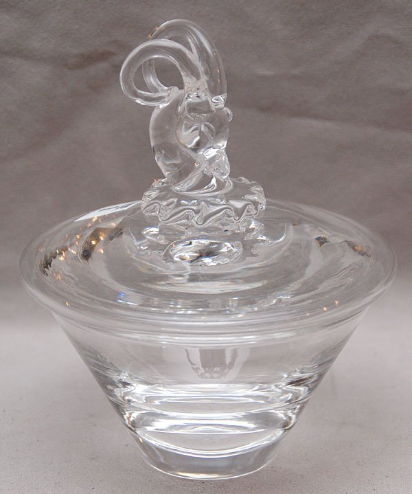 1: 2pc. Steuben covered glass candy dish with ram head