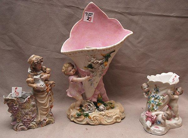 """2: 3 bisque pcs: 12""""h figural vase, 5""""h figural vase, 7"""