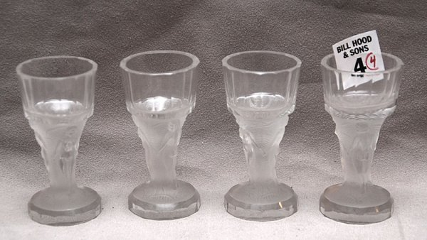 """4: 4 frosted nude figural  crystal cordials, 3  1/8""""h"""