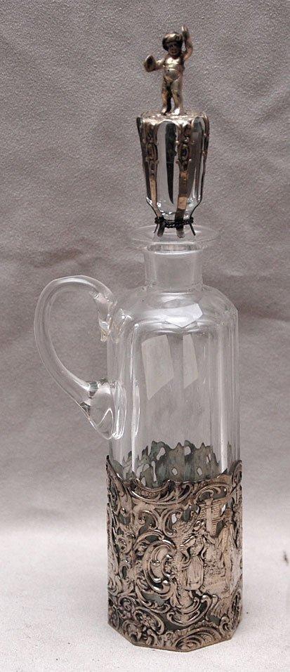 6: Glass & hallmarked silver cruet with stopper