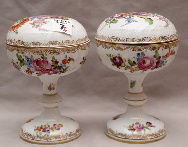 7: Pair of small Dresden lidded compotes (vanity) 6 1/2