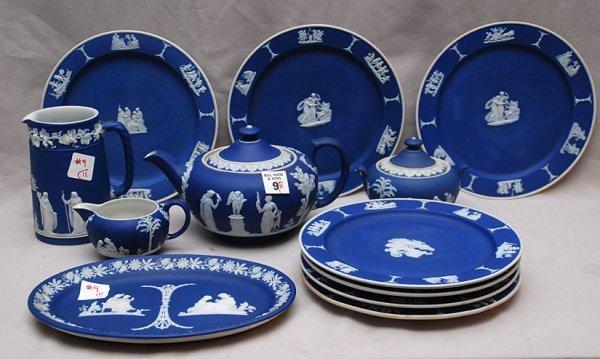 "9: 11pcs Wedgwood Jasperware: 7 plates (8""dia), pitcher"
