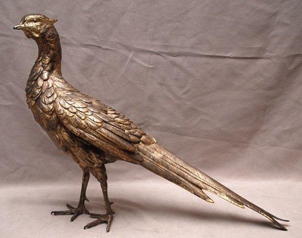 "10: Heavy silvered pheasant, 23""L x 14""H"