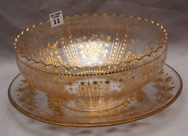 11: Glass centerpiece bowl with under plate, cut gold a