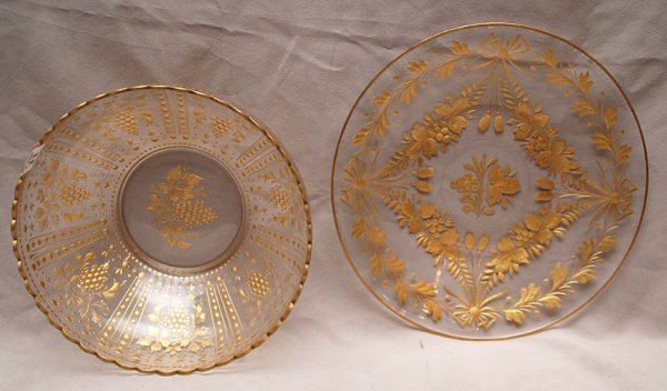 11: Glass centerpiece bowl with under plate, cut gold a - 2
