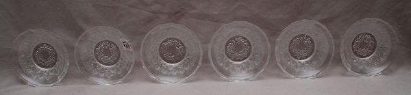 12: 6 etched stamped Baccarat sauce bowls, puttis
