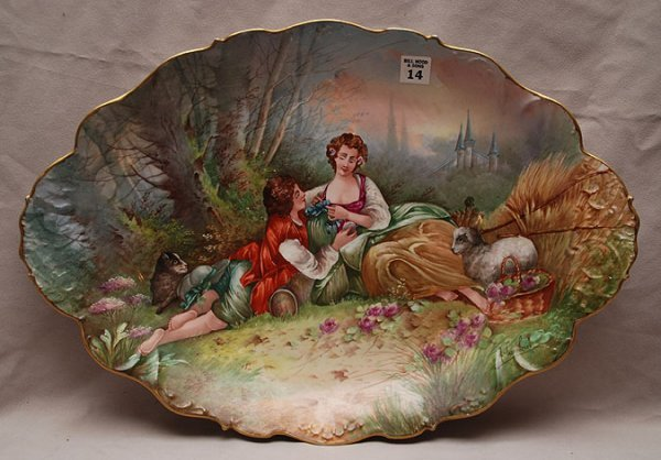 14: European oversized multi color platter of courting