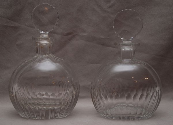"""15: Pair of old French port decanters, 8""""h"""