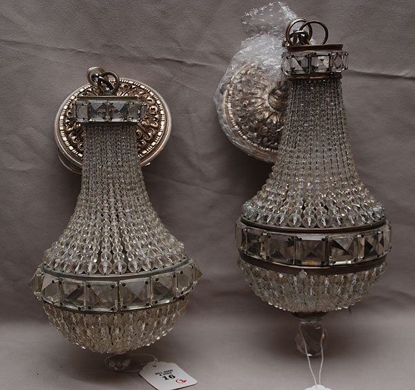 """16: Pair of antique French crystal chandeliers, 14""""h"""