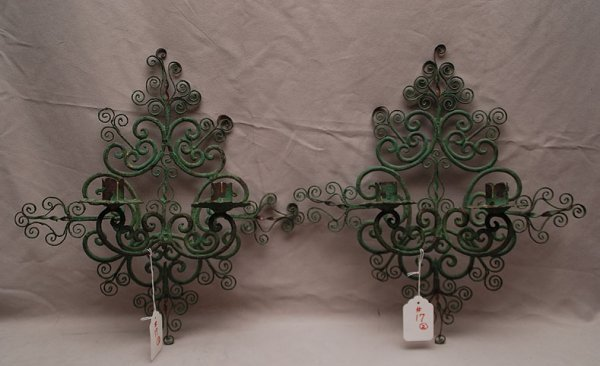 17: Pair of old verdigris wrought iron French 2 light s
