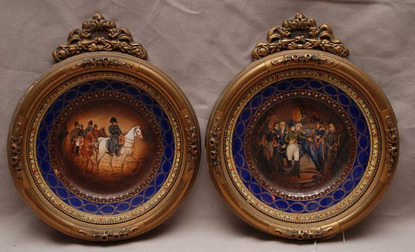 18: Pair of Austrian framed wall plates, Napoleon at ce