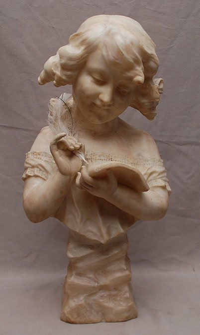 """20: Alabaster bust of lady reading, 18""""h"""