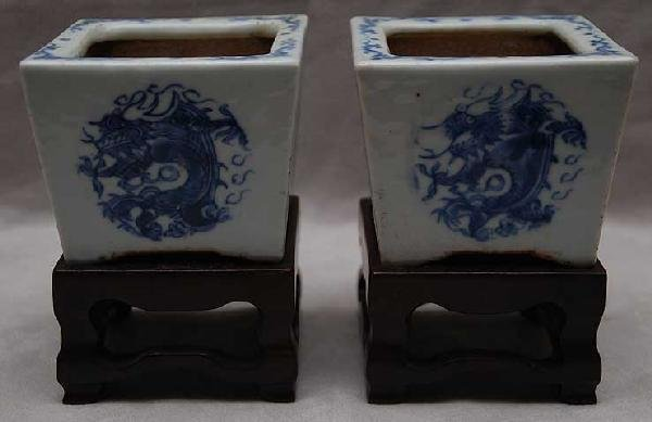 1: Blue & white Chinese crocus pots with stands