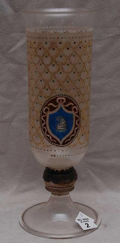 2: Bohemian glass vase on pedestal base with enamel bea