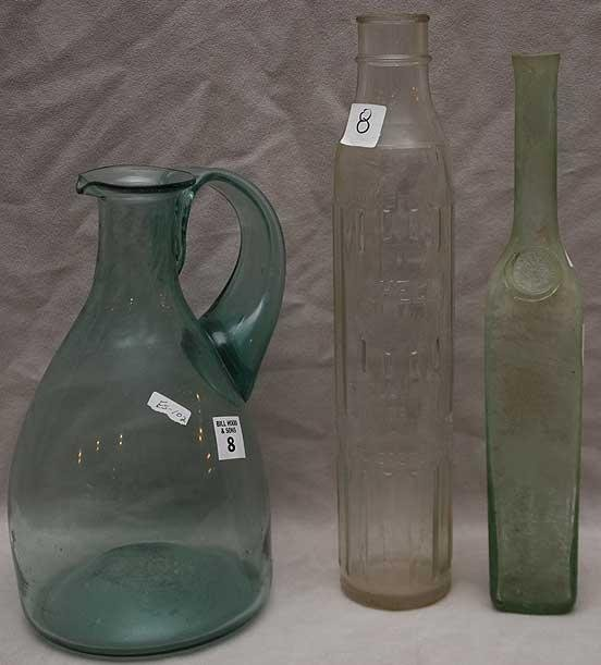 8: 3 glass objects; 1 Venetian large pitcher,  sea glas