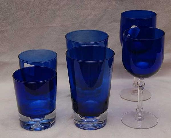 11: 14pcs of cobalt glassware; 6 stems, 4 waters & 4 sc