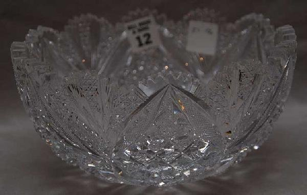 "12: Cut glass bowl, 4""h x 8""w"