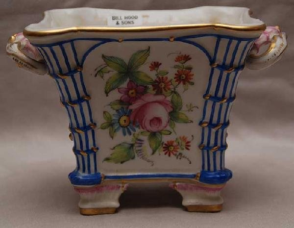 14: French porcelain small cache pot hand painted flora