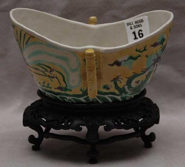 16: Chinese boat form bowl with enameled dragon decorat