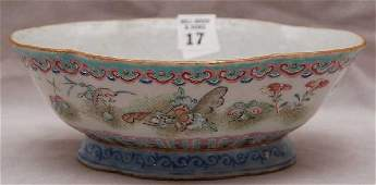 17: Famille Rose porcelain bowl, Chinese, 19th c. signe