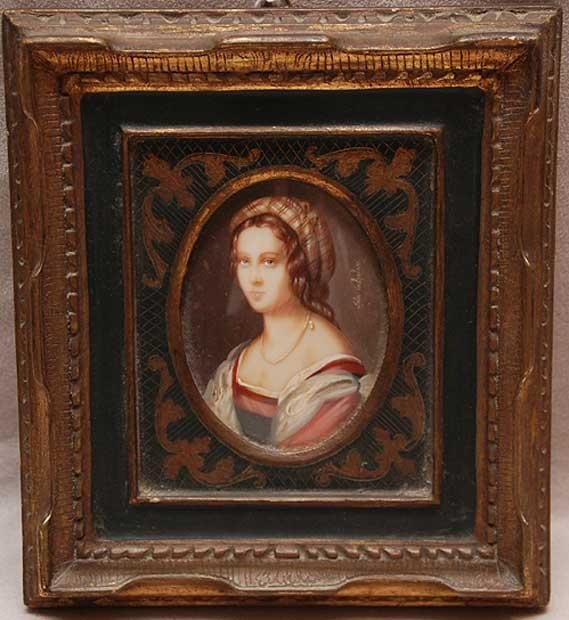 20: Hand painted miniature portrait, Italian, early 20t