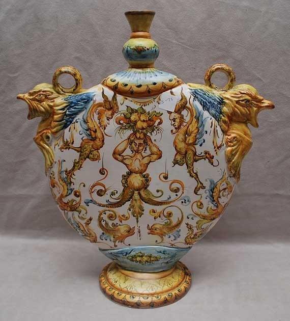 22: Italian majolica pottery oversized vase, flat sided