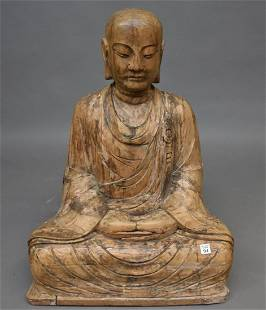 """Large Chinese Carved Natural Wood Buddha. Height 33"""""""