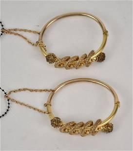 Pair Antique Vintage Gold Filled Etruscan Victorian
