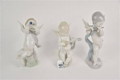 """3 Lladro Cherubs with Instruments, 8 1/2""""h, 9 1/2""""h and"""