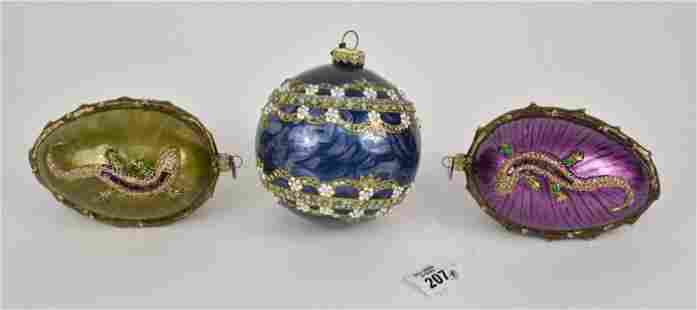 3 Jay Strongwater Christmas Ornaments, 2 Egg Shape with